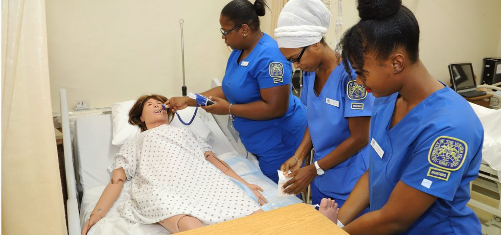 Nursing students learn how to care for patients using the simulator